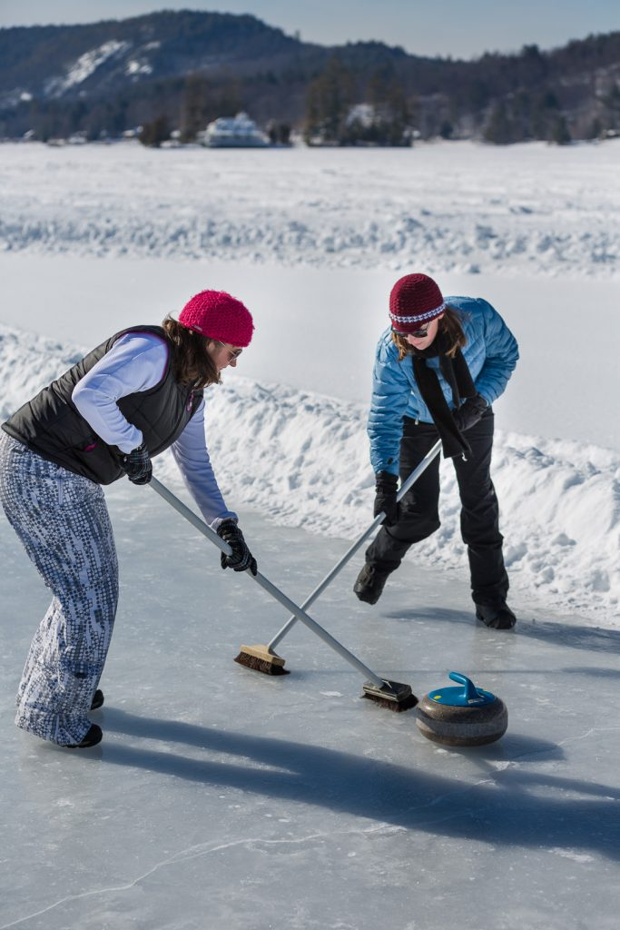 Curling on Brant Lake during the Brant Lake Winter Carnival