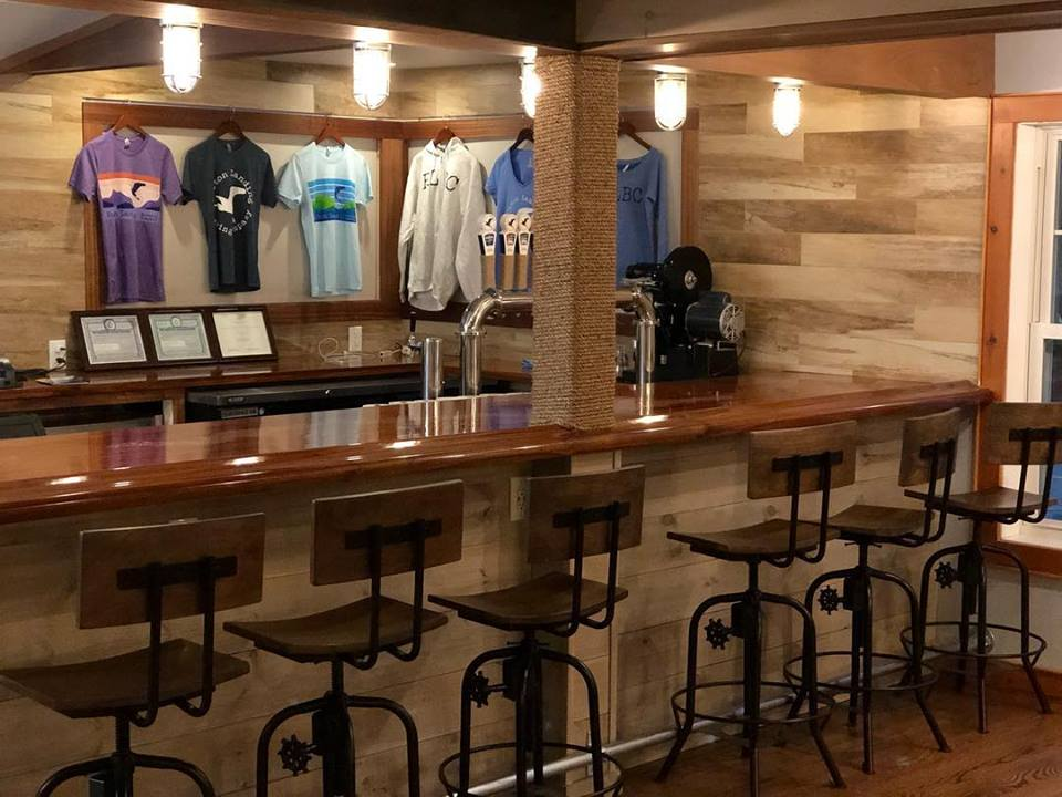 Bar and shirts for sale at Bolton Landing Brewing Company
