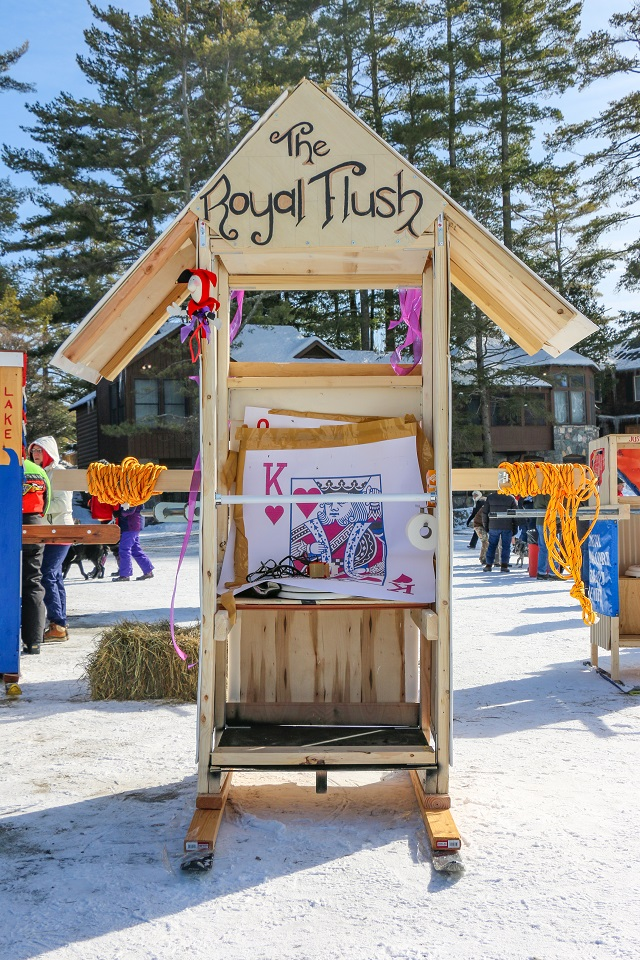 An outhouse at the Brant Lake Winter Carnival