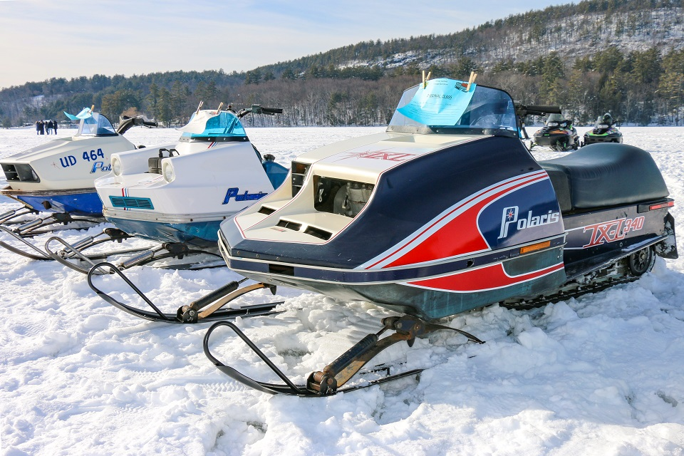 Vintage snowmobiles at the Brant Lake Winter Carnival