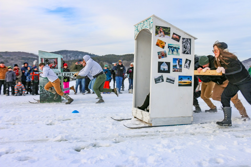 Outhouse races at the Brant Lake Winter Carnival