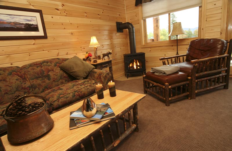 Lodges at Cresthaven living area and wood stove