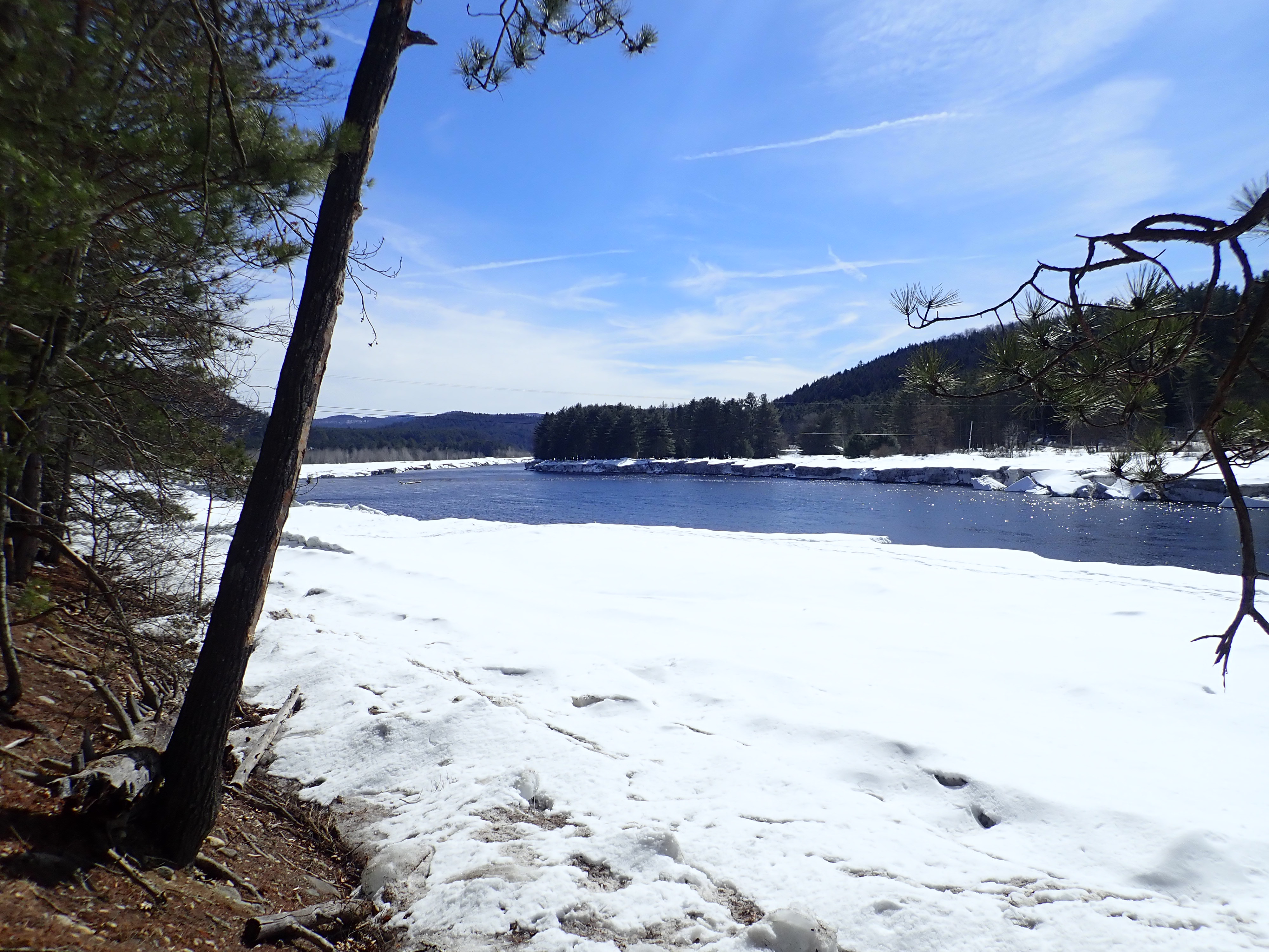 View of the Hudson River in winter from the Warren County Nature Trails