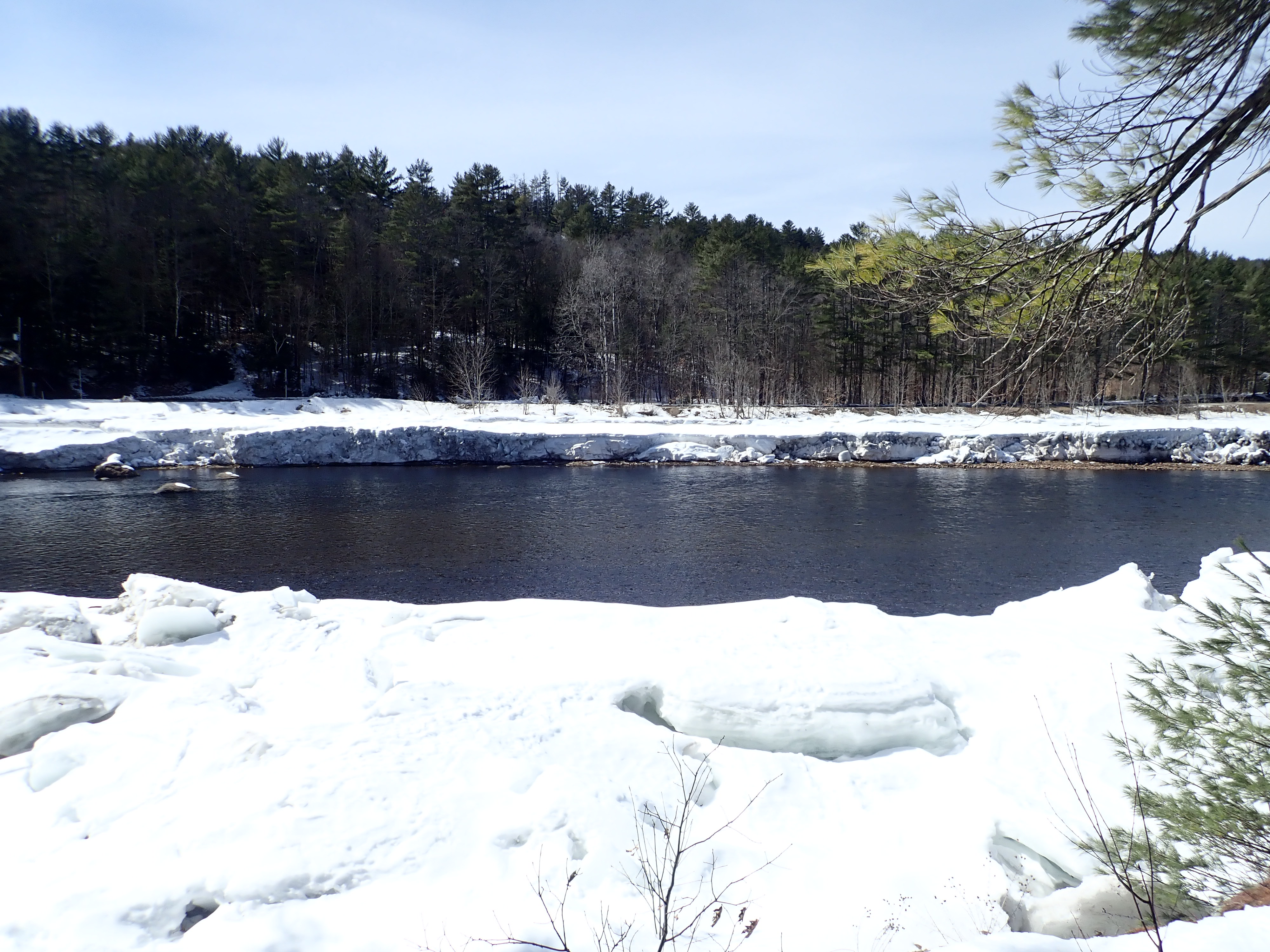 Open water on the Hudson River in winter from the Warren County Nature Trails