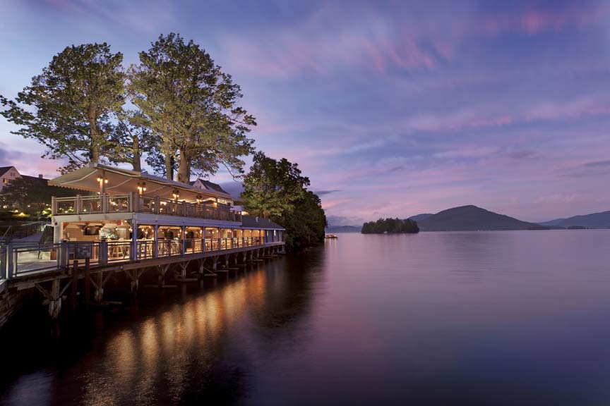 The Pavilion at the Sagamore Resort at dusk in Fall