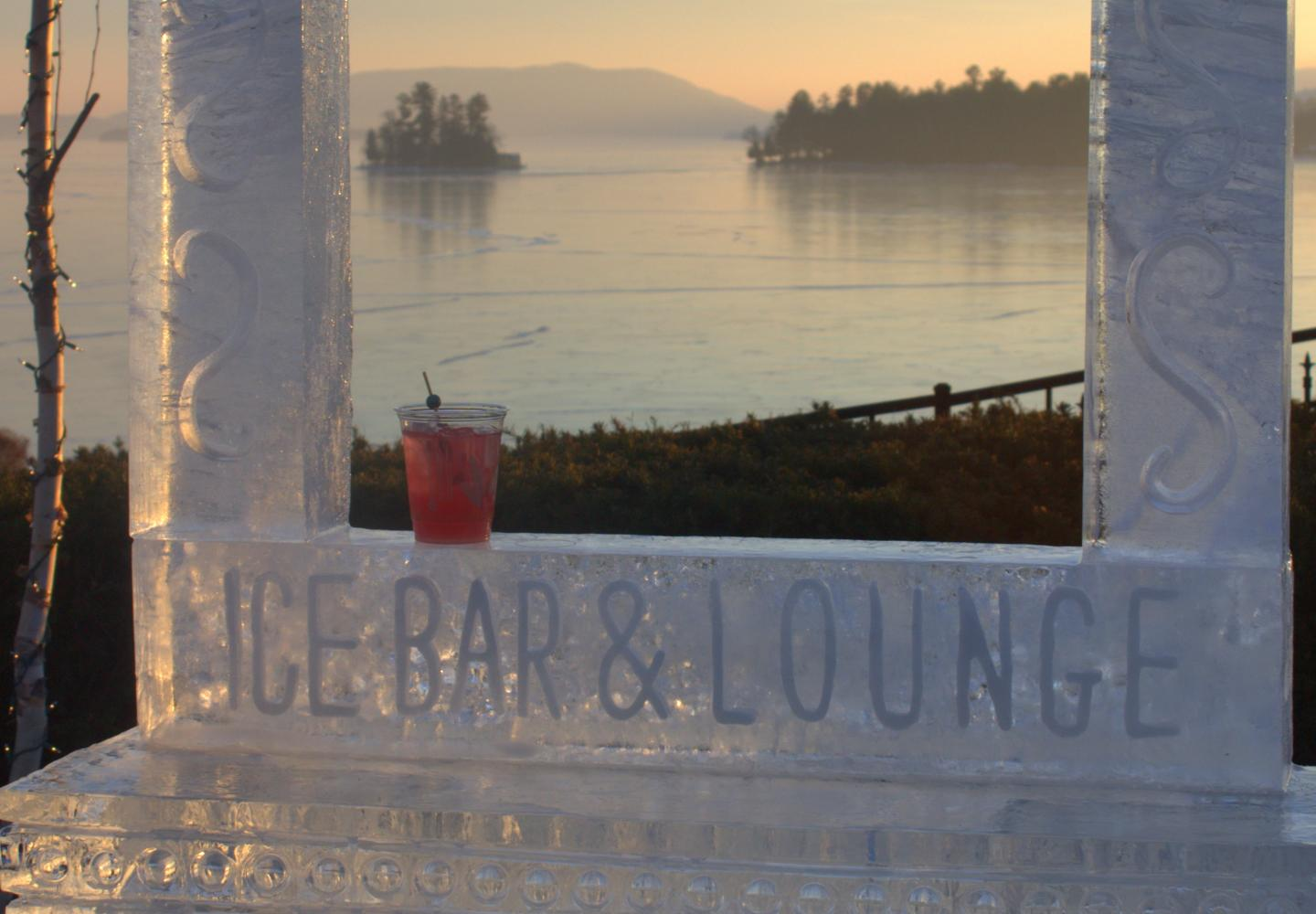 cocktail on the Glacier ice bar with Lake George in the background