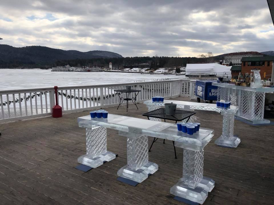 beer pong set up at the Lake George Beach Club on multiple ice bars