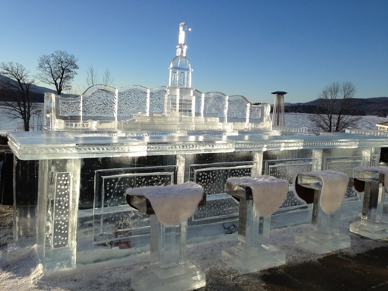 Glacier Ice Bar & Lounge at the Sagamore Resort with ice stools covered in white fur